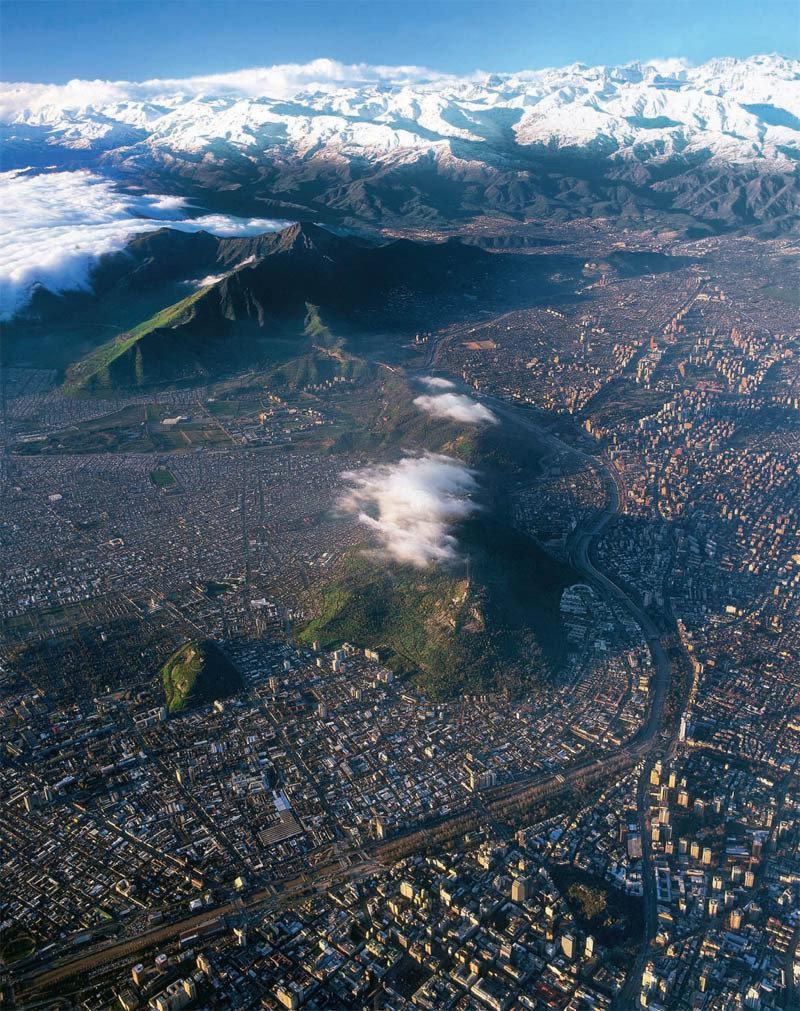santiago chile from above aerial photograph